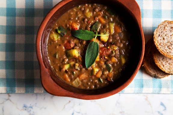 lentil Soup with Crusty Bread on the table