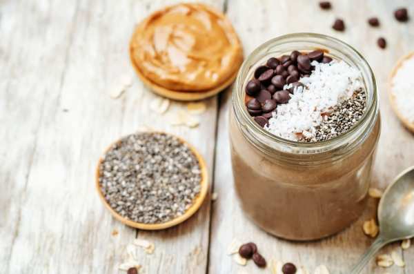 Chocolate Coconut Chia seeds overnight oats